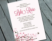 Baby Girls Baptism or Christening Invitation:Cherry Blossom Theme- printable digital file *PRINTING Available Upon Request*