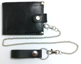 NEW Perfect bike wallet from genuine leather two pockets for business cards, ID, pocket for cash and coin purse with chain bike wallets