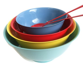 Mid century Silver plated Revere bowls multi colored- upcycled by BMC Vintage Design Studio, fired on colors!