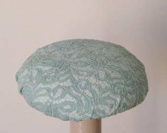 Turquoise lace cocktail hat- wedding hat - mother of the bride - bridesmaid hat - retro fascinator Rana Hats Israel