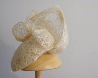 ivory headpiece - unusual wedding hat - eco-friendly summer hat - organic women's hat Israel