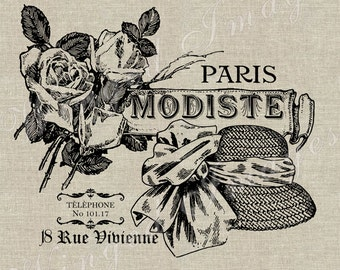 Paris Modiste French Fashion Ad Instant Download Digital Image No.51 Iron-On Transfer to Fabric (burlap linen) Paper Prints (cards tags)