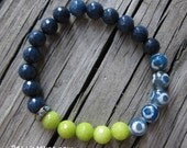 Blue and White Glazed Agate, Lime and Navy Jade / Stretchy Layering Bracelet / Stackable