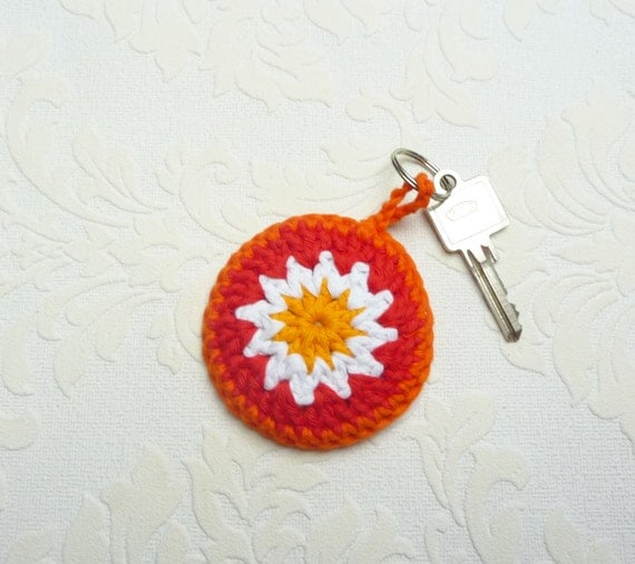 Crochet keychain granny square keyfob stocking filler