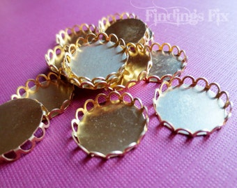 10X - raw brass lace edge round setting for 18mm cabochon