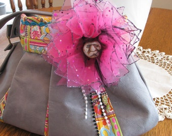 Blue Gray Leather  Purse (bag, tote, handbag) with Inca Face Bead Rosette Bow-Free shipping inside U.S.