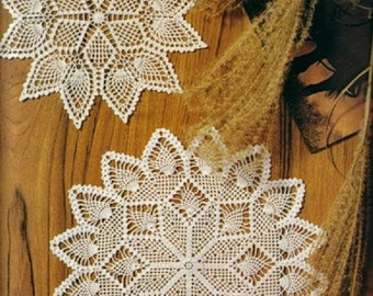 2 crochet doily, table decoration, center piece ,table runner  PATTERN (chart with  explanations )