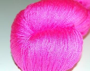 Bubble gum- Mulberry silk 100% (2ply ,) handdyed yarn 100g