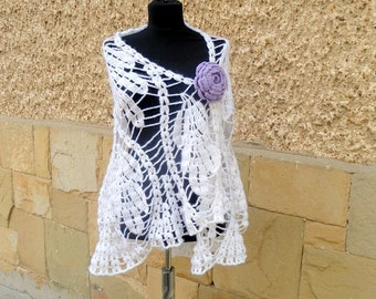 Crochet Wedding Shawl, White Wedding Shawl , Crochet Lace Shawl, Bridal Cover up,  Lovely Crochet Bride Shawl , Fancy Angora Payette Yarn