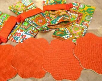 Retro Orange coasters napkins set of 4 fabric vintage 1960's 70's colorful bright flower print Vintage kitchen table linens