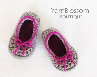 CROCHET PATTERN - Leah Slippers - baby shoes crochet booties toddler slippers baby girl baby shower gift digital download