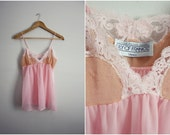 S A L E // Vintage Lily of France Pink and Tan Lace Sheer camisole Lingerie. Top Lingerie. Size S/M