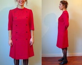 60s cherry red front brutton shift crepe dress M