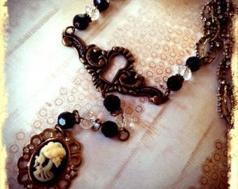 Goth Skull Cameo and Keyhole Necklace - lolita, day of the dead, memeto mori, victorian, industrial, steampunk,dark jewelry
