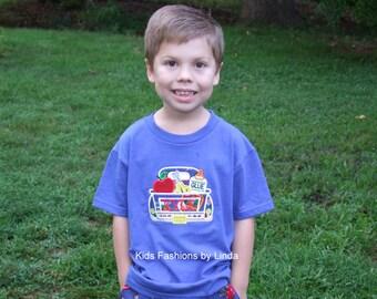 Personalized Royal Blue  School Truck  Tshirt