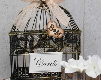 Rustic Bird Cage Wedding Card Holder / Wedding Decoration / Small Birdcage / Rustic Wedding / Card Box / Woodland Themed Wedding Decor