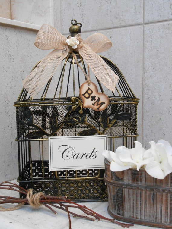 Rustic bird cage wedding card holder wedding decoration - Decoration cage oiseau ...