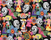 LAMINATED cotton fabric - Los Novios skeleton Day of the Dead by the yard (aka oilcloth coated vinyl fabric ) - De Leon Alexander Henry