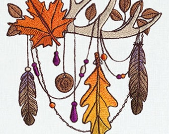 Autumn Drape over Antlers Embroidered Flour Sack Hand/Dish Towel
