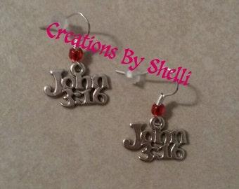 Handmade John 3:16 Christian Religious Dangle Wire Earrings (you choose bead color)