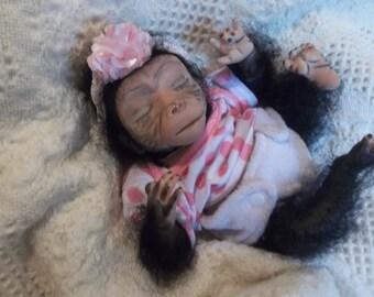 Reborn Ooak Art Monkey Ape Gorilla Baby Girl By