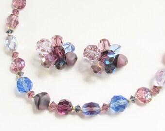 Hattie Carnegie Art Glass Blue Purple Beaded Necklace Earrings signed