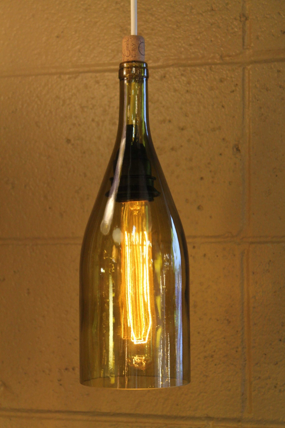 Amber recycled wine bottle hanging pendant light - Wine bottle pendant light ...