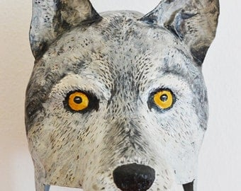 Paper mache wolf head, hat or wall mounted decor