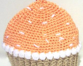 Orange Sherbert crochet cupcake hat 3-9 months