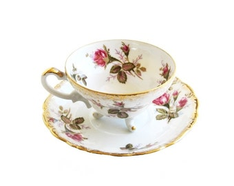 English Crown China Porcelain Tea Cup and Saucer Set Roses Moss Rose Tri-Footed