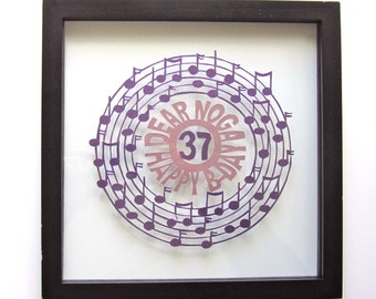 HAPPY BIRTHDaY Gift w/MUSIC NOTES Silhouette Paper Cut in Purple and Mauve Pink Handmade, ORIGINaL Design Wall Art Home Décor Framed OOaK