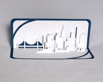 SAN FRANCISCO SKYLINE Pop Up 3D Card Home Decoration Origamic Architecture Hand Cut in White and Metallic Dark Blue Folds Flat OOaK