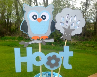 Baby Shower Table Centerpiece Decoration It's A Boy Owl Blue and Grey