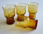 Vintage Juice Glasses Amber Yellow Libbey Country Garden Daisy Glasses Set of 4