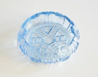 Ice Blue Glass Art Deco Dish or Ashtray, Depression Glass