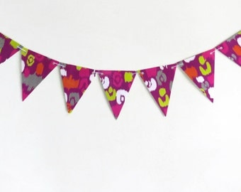 Neon Paper Bunting, Hot Pink Banner, Trendy Triangle Streamer, Bright Colored Garland, Ikat Party Banner