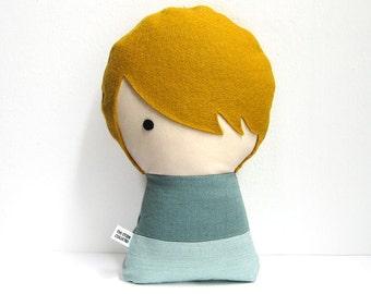 Handmade Personalized plush doll. Stuffed fabric doll. Custom rag doll. Customize.