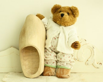 Vintage Brown Bear in 1960's PJ's/Sweater - New/Old Store Stock - 1980's Bear and Vintage Baby Doll Clothes - Vintage Teddy Bear