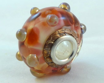 SALE  Lampwork Big Hole Bead Pendant Charm - 'Copper Penny'
