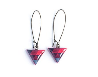 Red triangle earrings, triangle jewelry, small dangle earrings handmade