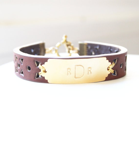 personalized bracelet monogram leather bracelet initial