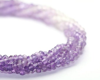Amethyst Micro Faceted Rondelles Set of 20 Shaded Lavender Purple Semi Precious Gemstones February Birthstone