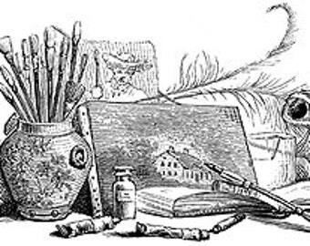 Artist Loft Still LIfe Paints Brushes Canvas Pen Palette - Digital Image - Vintage Art Illustration