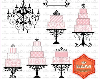 Digital Wedding Cake, Chandelier Silhouette Clip Art for Your Wedding Invitation Cards Making. BP 0868