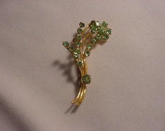 Vintage Green Rhinestone Brooch   531