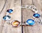 Galaxy Charm Bracelet  : Solar System Bracelet. Space Photo Bracelet. Space Jewelry. Universe. Silver Bracelet. Handmade Jewelry. Lizabettas