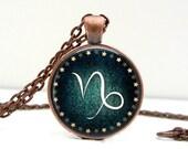 Capricorn Sign Necklace: Zodiac Jewelry. Birthday Jewelry. Custom Birthday. Picture Pendant. Handmade Jewelry. Lizabettas