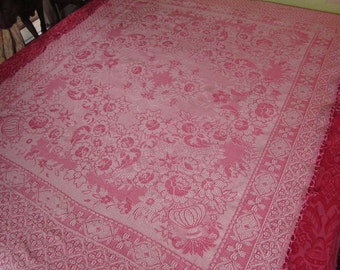 VIntage Bedspread or Throw, Pink Italian Embroidered