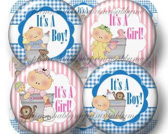 It's A Boy, It's A Girl, Bottle Cap Images, Digital Collage Sheet, 1 Inch Circles, Instant Download. Printable Bottle Caps,