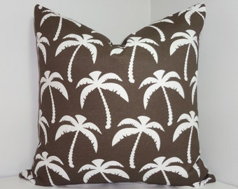 OUTDOOR Brown/White Palm Tree Pillow Cover Palm Pillow Cover Deck Porch Pillow 18x18